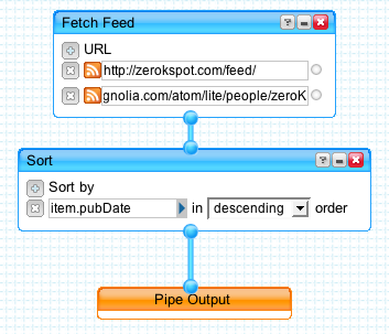 Merging two feeds using Yahoo! Pipes