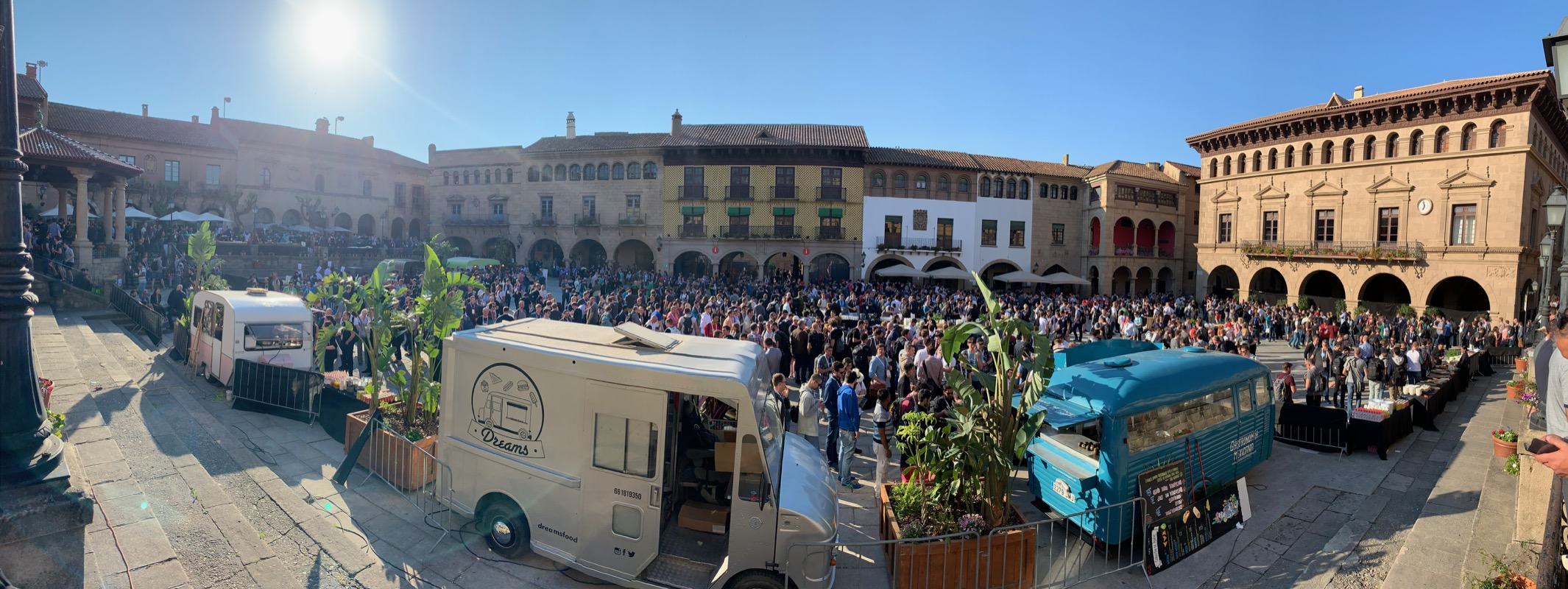 The main square of Pople Espanyol was filled to burst with KubeCon attendees.