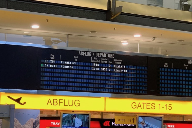 My first flight from Graz to Frankfurt was cancelled.