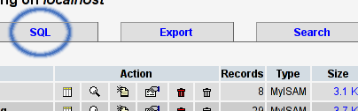 SQL button
